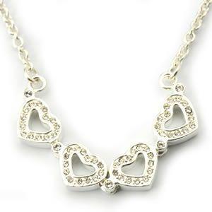 FOLLI FOLLIE(フォリフォリ) Heart4Heart Necklace ハート4ハート ネックレス シルバー クリスタル 3N1F033C - 拡大画像