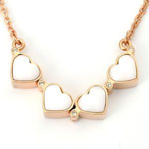 FOLLI FOLLIE(フォリフォリ) Heart4Heart Necklace ハート4ハート ネックレス ピンクゴールド ホワイトエナメル 3N1T006RW - 拡大画像