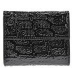 FOLLI FOLLIE(フォリフォリ) ロゴマニア ロゴ型押し 小銭入れ・パスケース付 三つ折財布 ブラック WA0L027SK BLK