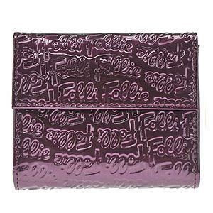 FOLLI FOLLIE(フォリフォリ) ロゴマニア ロゴ型押し 小銭入れ・パスケース付 三つ折財布 パープル WA0L027SV PPL - 拡大画像