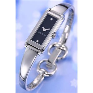Gucci(グッチ) 腕時計 YA109 レディスバングルウォッチ SS 2Pダイヤ ブラック YA109518 - 拡大画像