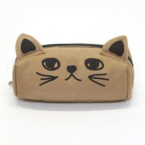 アネロ 猫シリーズ 立体的なネコ耳がキュート♪ 手書きネコプリント ナイロンポーチ ベージュ AR-43245-BE - 拡大画像