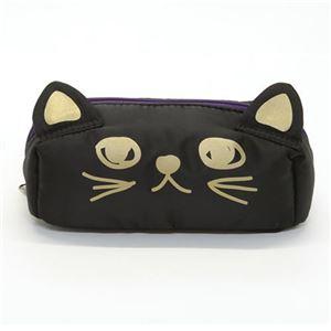 アネロ 猫シリーズ 立体的なネコ耳がキュート♪ 手書きネコプリント ナイロンポーチ ブラック AR-43245-BK - 拡大画像