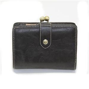 アネロ 猫シリーズ ネコ型押し がま口二つ折り財布 ブラック ZS-44001-BK - 拡大画像