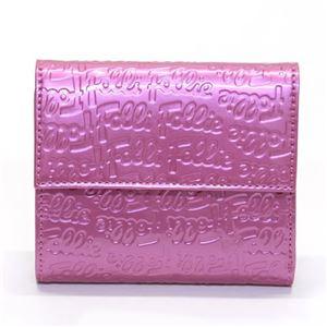FOLLI FOLLIE(フォリフォリ) ロゴマニア ロゴ型押し 小銭入れ・パスケース付 三つ折財布 ローズピンク WA0L027SP/ROSE PNK - 拡大画像