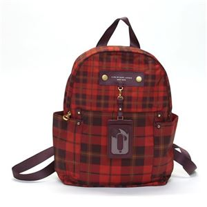MARC BY MARC JACOBS(マークバイマークジェイコブス) Pretty Nylon Aimee Plaid BackPack パスケース付 リュックサック バックパック タータンチェック柄 レッド系マルチカラー ≪2013AW≫ M0001508 81023 CORVETTE RED MULTIの画像