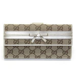 Gucci(グッチ) オリジナルGG リボンウェブ Wホック 二つ折り長財布 ベージュ/シャンパン ≪2013AW≫ 256933 F4C2G 8612 - 拡大画像