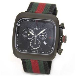 Gucci(グッチ) クーペコレクション スポーティーなGRGカラーのナイロンストラップ。ビッグフェイスのブラック・クロノグラフ・ウオッチ。 YA131202 - 拡大画像