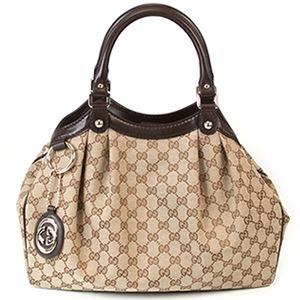 Gucci(グッチ) スーキー GGキャンバス ハンドバッグ トートバッグ ベージュ/ダークブラウン 211944 FAFXG 9643 - 拡大画像