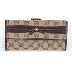 Gucci(グッチ) オリジナルGG リボンウェブ Wホック 二つ折り長財布 ベージュ/ダークブラウン ≪2013AW≫ 256933 FFKPG 9791 - 拡大画像