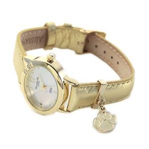 ALESSANDRA OLLA(アレサンドラオーラ) 超人気 可愛い肉球チャームが揺れる♪ネコモチーフ腕時計 イエローゴールド&ゴールド AO-333 YG-GD