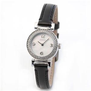 【レディス腕時計】Coach(コーチ) シェルをあしらったダイヤル周りにはラグジュアリーなラインストーンベゼル。ドレッシーなレディス・レザーストラップ・ウオッ チ 14501690