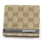Gucci(グッチ) GGキャンバス GGロゴメタルバー 二つ折り財布 小銭入れ無し ベージュ/ブラウン 233100 FAFXR 9643