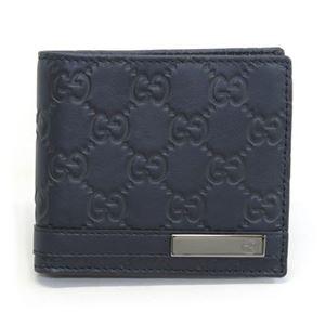 Gucci(グッチ) グッチシマ GGロゴメタルバー 二つ折り財布 小銭入れ無し ブルー 233100 AA61R 4009 - 拡大画像