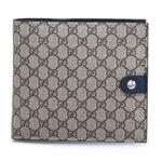 Gucci(グッチ) マイクロGGスプリームキャンバス 小銭入れ付 二つ折り財布 ベージュ×ブルー 282023 FX53N 9792
