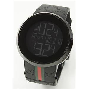 Gucci(グッチ) メンズ 腕時計 I-Gucci(アイ-グッチ)コレクション YA114シリーズ デジタルワールドタイム GGラバーストラップ ブラックPVD YA114207 - 拡大画像
