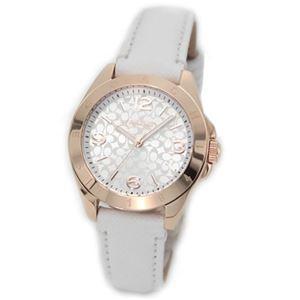【レディス腕時計】Coach(コーチ) ロゴの入ったピンクゴールドカラーのケースにシルバーシグネチャーが煌びやかなレディス・レザーストラップウオッチ 14501704