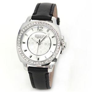 【レディス腕時計】Coach(コーチ) ラインストーンをまとったベゼルにシグネチャーダイヤル ラグジュアリーなレディス・レザーストラップウオッチ 14501789