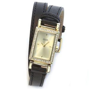 【レディス腕時計】Coach(コーチ) 注目の2 ラップ・ストラップ。ラインストーンをまとったラグジュアリーなミニスクエア・フォルムのレディス腕時計 14501857