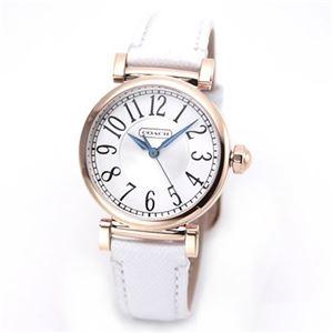 【レディス腕時計】Coach(コーチ) 見やすい大きめアラビアインデックス☆ホワイト&ピンクゴールドカラーが可愛いレディス・レザーストラップ・ウオッチ 14501730