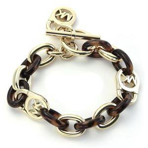 Michael Kors(マイケルコース) MKJ1675710 Gold-Tone and Tortoise Acetate Chain-Link PadLock Bracelet タートス チェーンリンク パドロック ブレスレット
