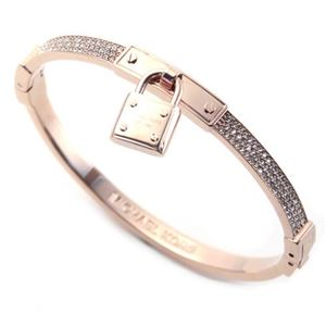 Michael Kors(マイケルコース) MKJ3020791 Pave PadLock Charm Rose Gold-Tone Bracelet パドロックチャーム パヴェ バングル/ブレスレット