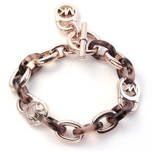 Michael Kors(マイケルコース) MKJ4321791 Rose Gold-Tone and Tortoise Acetate Chain-Link PadLock Bracelet タートス チェーンリンク パドロック ブレスレ…
