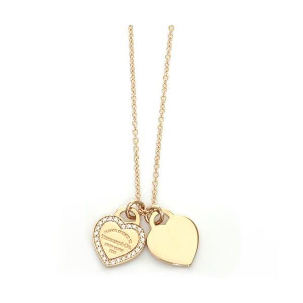 Tiffany(ティファニー) RTT ミニ 2ハート ダイヤモンドペンダント/ネックレス ペンダント 16in 18KRG 28751257f00