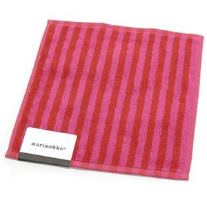 marimekko(マリメッコ) UJO MINI TOWEL 25cm×25cm 64393 70 red/pink ボーダー柄 ミニタオル