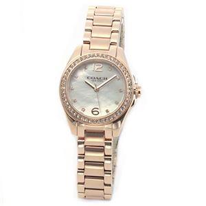 【レディス腕時計】Coach(コーチ) 煌びやかなラインストーンとホワイトシェルダイヤルの輝き ラグジュアリーなレディス腕時計 14502104