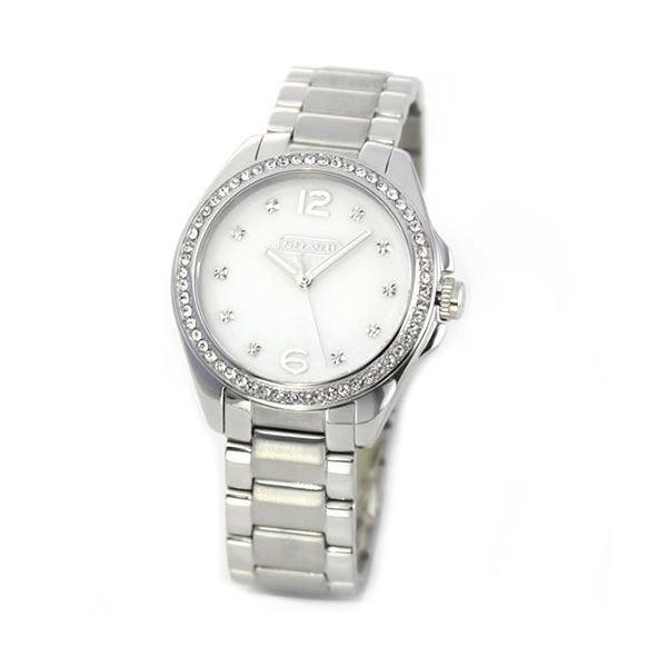 Coach(コーチ) 14501660 煌びやかなラインストーンとホワイトシェルダイヤルの輝き ラグジュアリーなレディス腕時計f00