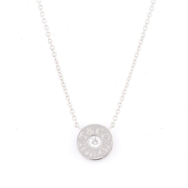 Tiffany(ティファニー) 33285973 1837 サークル ペンダント ダイアモンド 16in 18KWG ネックレスf00