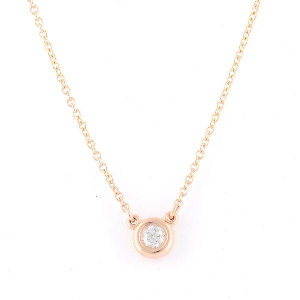 Tiffany(ティファニー) 31895928 エルサ・ペレッティ ダイヤモンド バイ ザ ヤード ペンダント 0.10ct 16in 18KRG ネックレスf00