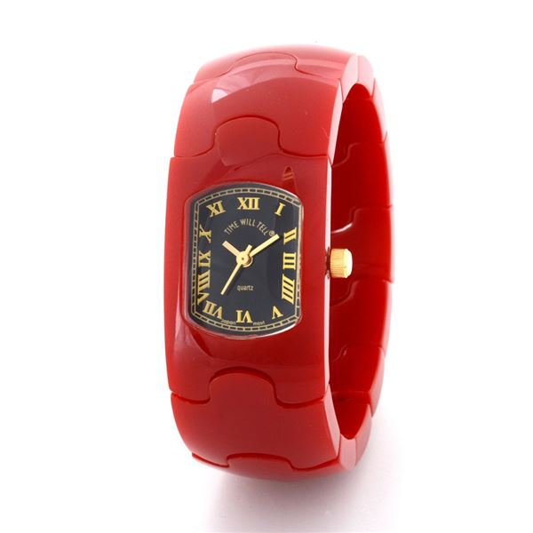 Time Will Tell(タイムウィルテル) Solid-PZ-RE-M HAMPTON レッド 腕時計f00