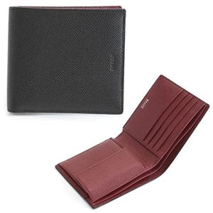 Bally(バリー) BYIE.B 86 BLACK/BALLY RED 小銭入れ付 二つ折り財布 型押しカーフ h01