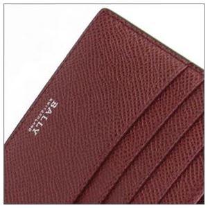 Bally(バリー) BYIE.B 86 BLACK/BALLY RED 小銭入れ付 二つ折り財布 型押しカーフ h02