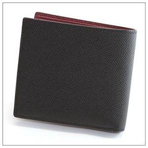 Bally(バリー) BYIE.B 86 BLACK/BALLY RED 小銭入れ付 二つ折り財布 型押しカーフ h03