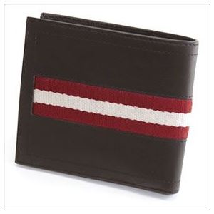 Bally(バリー) TYE 271 CHOCOLATE 小銭入れ付 二つ折り財布 型押しカーフ h03