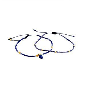 CHAN LUU(チャンルー) BG-4759 BLU MIX シングルブレスレット 2本セット Pull Tie スワロフスキークリスタル/ビーズ ブルーミックス h01