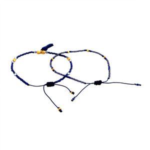 CHAN LUU(チャンルー) BG-4759 BLU MIX シングルブレスレット 2本セット Pull Tie スワロフスキークリスタル/ビーズ ブルーミックス h02