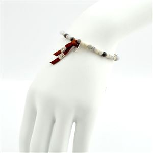 CHAN LUU(チャンルー) BSM-1630 WHT MIX メンズ シングルブレスレット Pull Tie ホワイトミックスビーズ h03