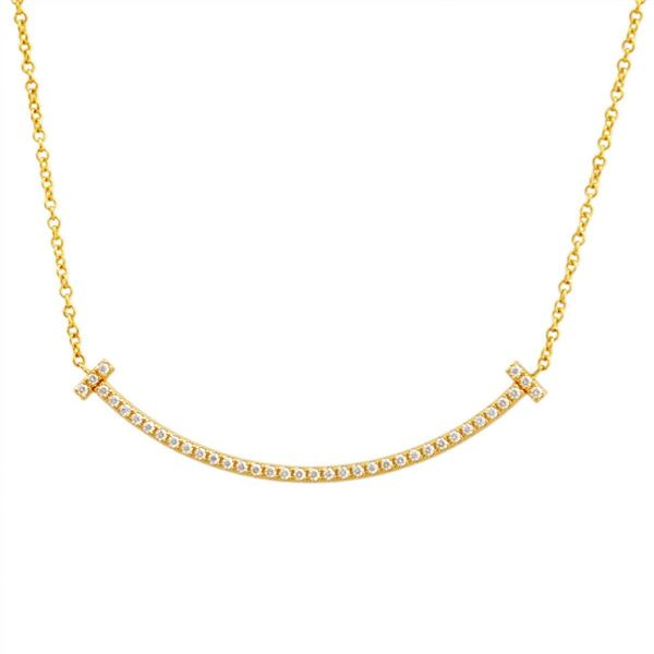 TIFFANY&CO(ティファニー) 34684456 Tiffany T スマイル ダイアモンド ペンダント ミニ 0.01ct 18KYG ネックレスf00