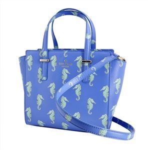Kate Spade(ケイトスペード) PXRU6720 488 Adventure Blue タツノオトシゴ プリント 2WAY ショルダー ハンドバッグ Cedar Street Seahorses Small Hayden - 拡大画像