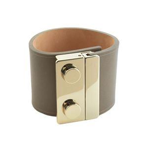 Maison Boinet(メゾンボワネ) 95018G-79-77-M Gabardine ボタン金具 レザー ブレスレット バングル 50mm h01