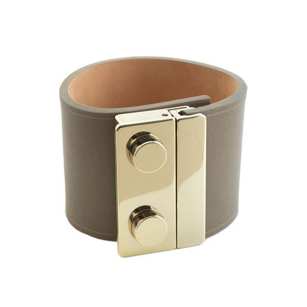 Maison Boinet(メゾンボワネ) 95018G-79-77-M Gabardine ボタン金具 レザー ブレスレット バングル 50mmf00