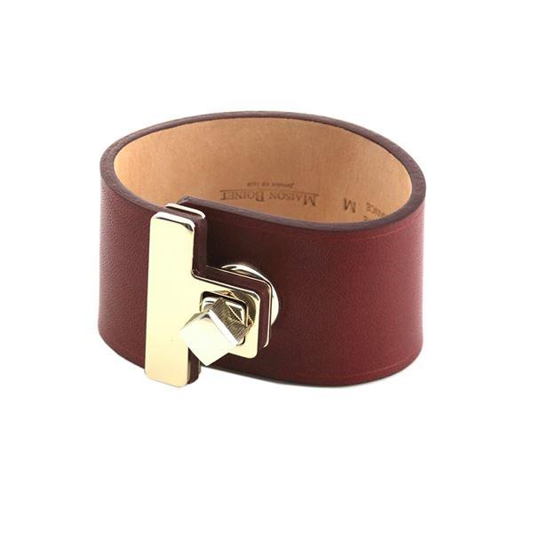Maison Boinet(メゾンボワネ) 95027G-79-08-M Burgundy ヒネリ金具 レザー ブレスレット バングル 40mmf00