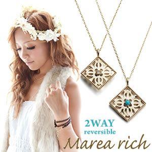 マレア リッチ Hawaiian series K10 ハワイアンモチーフ スクエアネックレス 2WAY リバーシブル ゴールド×ダイヤモンド/ターコイズ 11KJ-07 h01