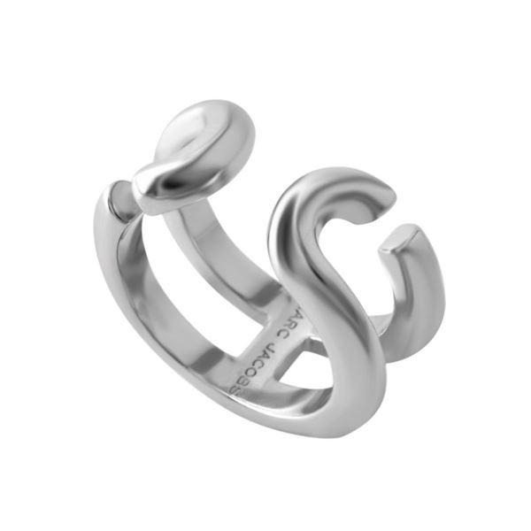 MARC JACOBS(マークジェイコブス) M0009229-040 #6 Silver 「J」ロゴモチーフ アイコン リング 指輪 日本サイズ11号相当 Icon Band Ringf00