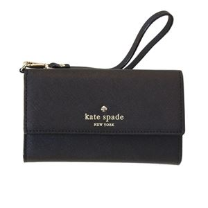 Kate Spade(ケイトスペード) 8ARU1099 001 Black ストラップ付 アイフォンケース (iphone6・6s専用) スマホバッグ Cedar Street IPhone 6 Leather Wristlet h01