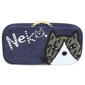 anello(アネロ) CAT・DOT ねこどっとシリーズ  ZP-D0432-NV 魚の骨チャーム付♪もこもこサガラ刺繍&ロゴプリント ペンケース マルチポーチ h01